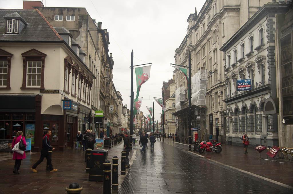 Rue principale de Cardiff, Pays de Galles