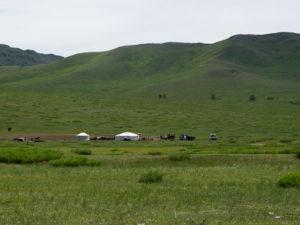Les 1ère yourtes dans un paysage de steppe