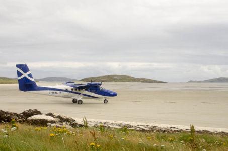 Aéroport sur l'île de Barra sur les Hébrides Extérieures, Ecosse